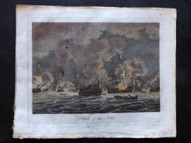 Field of Mars 1801 Hand Col Naval Print. Battle of the Nile, Egypt, Ships